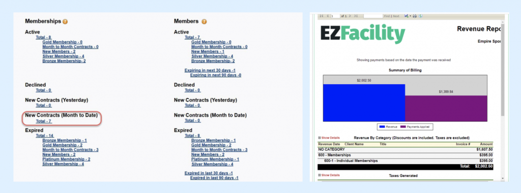 Membership Reports from Mindbody and EZ Facility